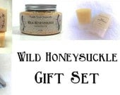 Wild Honeysuckle Gift Set: Goat Milk Soap, Solid Perfume, Lotion and Bath Salts. Smells like true honeysuckle