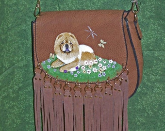 Hand painted chow handbag with fringe