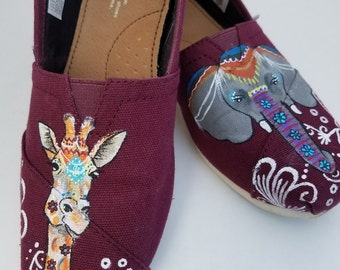 Elephant and Giraffe bohemian boho shoes - Custom Hand Painted TOMS Shoes - Customizable