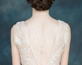 Silver Crystal Drop Back Necklace, Crystal Backlace, Flower Back Necklace, Flower Necklace, Silver Bridal Necklace, Y Drop Necklace, MAVIS