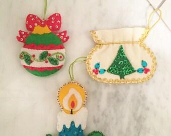 Felt Ornaments, Felt Sequin Ornaments, Vintage Christmas Ornaments, Vintage Sequins