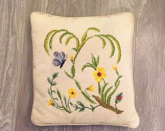 Needlepoint Pillow, Spring Decor, Vintage Needlepoint, Velvet Pillow, Blue Yellow Decor, Butterfly Floral