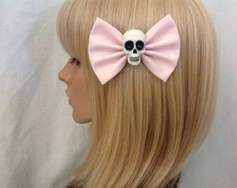 Pastel pink sugar skull hair bow clip rockabilly psychobilly gothic Lolita rock punk pin up girl skeleton retro fabric ladies girls women