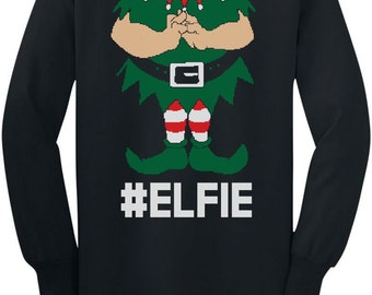 Elfie Funny Cute Christmas Costume Toddler Long Sleeve T-Shirt
