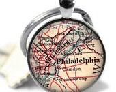 Cadeau papa, porte-clés, Philadelphie en carte porte-clés, cadeau pour lui, cadeau papa, cadeau personnalisé, porte-clés pour homme, cadeau papa, A276