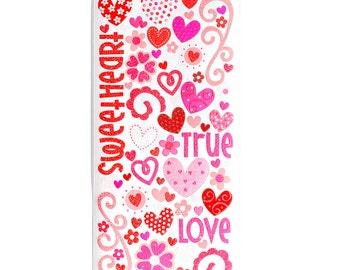 "Doodlebug ""True Love"" Glitter Stickers - SAVE 50% - Cardstock Hearts Flowers Swirls Words"