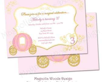 Pink Princess Birthday Invitation, Princess Birthday Party, Cinderella Birthday Party, Cinderella Birthday Invitation, Carriage Invitation