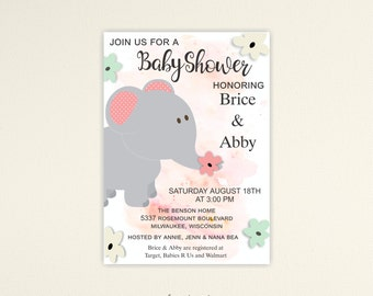 Elephant Baby Shower Invitation, Couples Baby Shower, Baby Girl Shower, Jungle Baby Shower, Printable or Printed, No. B1466