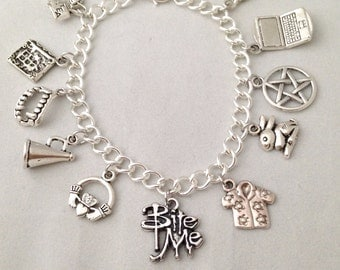 Buffy the Vampire Slayer Charm Bracelet - Jewelry inspired by Buffy, Angel, Willow, Giles, Xander