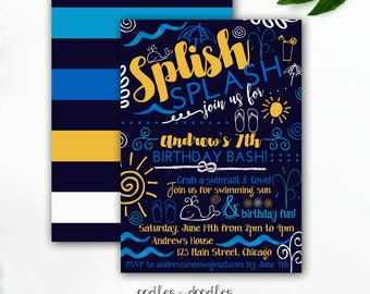 Pool Party Invitation Boy's Birthday Nautical Party Splash Pad Summer Birthday Party Navy Blue Yellow - Printable File or Printed Invitation
