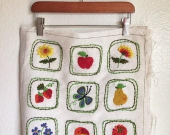 vintage garden crewel, unfinished crewel pillow, flower crewel, butterfly crewel, fruit crewel, vintage garden crewel, colorful crewel