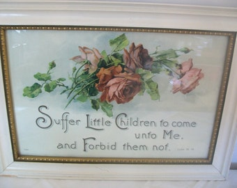 Vintage / Antique Framed and Glazed Religious Print.