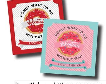 Donut valentine, donut sticker, clever valentine, cute valentine, custom valentine sticker, personalized valentine, valentine for kids
