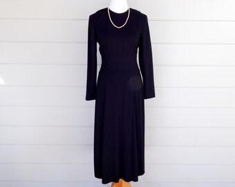 Vintage Black Neiman Marcus Wool Blend Dress, Size 6