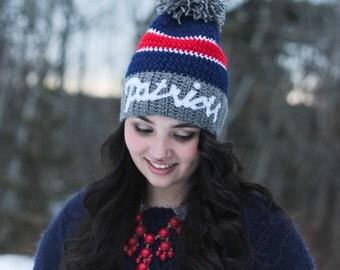 Patriots Hat/ Crocheted Patriots Hat/ Football Hat/ Womens winter Hat/ Mens winter Hat/ Crocheted Hat/