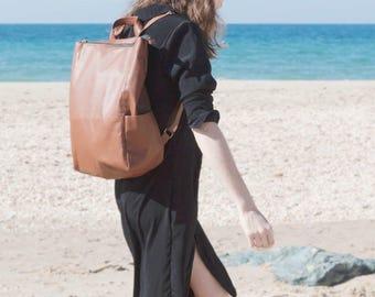Brown Backpack, Faux Leather Rucksack, Minimal vegan leather backpack, Modern Minimal Laptop Bag, Tan sac vegan, Unisex Graduation Gift