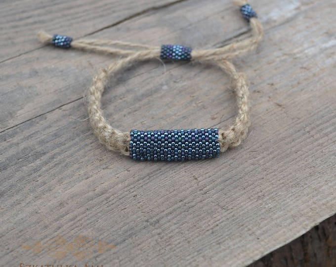 Blue hemp bracelet, guys bracelet, men bracelet, natural bracelet, hippie bracelet, men jewelry, macrame bracelet, bead bracelet, beaded