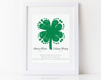 Twins, Sibling St Patricks Day Baby Footprint Four Leaf Clover, Shamrock, Irish Blessing Personalized with Your Child's Feet, UNFRAMED