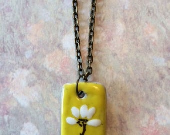 Yellow Necklace - Yellow Jewelry - Mustard Yellow Necklace - Ceramic Necklace - Ceramic Jewelry - Ceramic Pendant - Abstract Flower - Gift