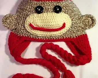 Sock Monkey -Inspired Character Crochet Hat