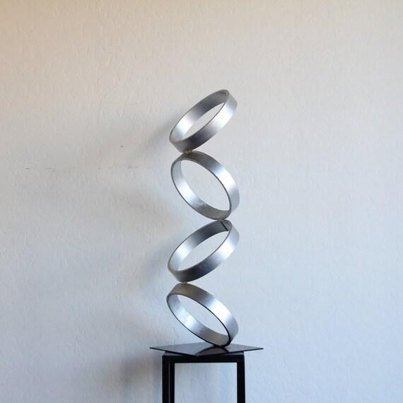 Mid century modern metal sculpture art abstract simple