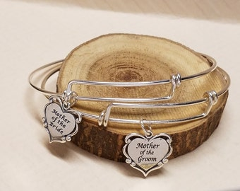 Matching Mother of the Bride Mother of the Groom Sterling Silver Bangle Set