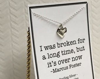 I was broken for a long time but it's over now mended heart charm necklace