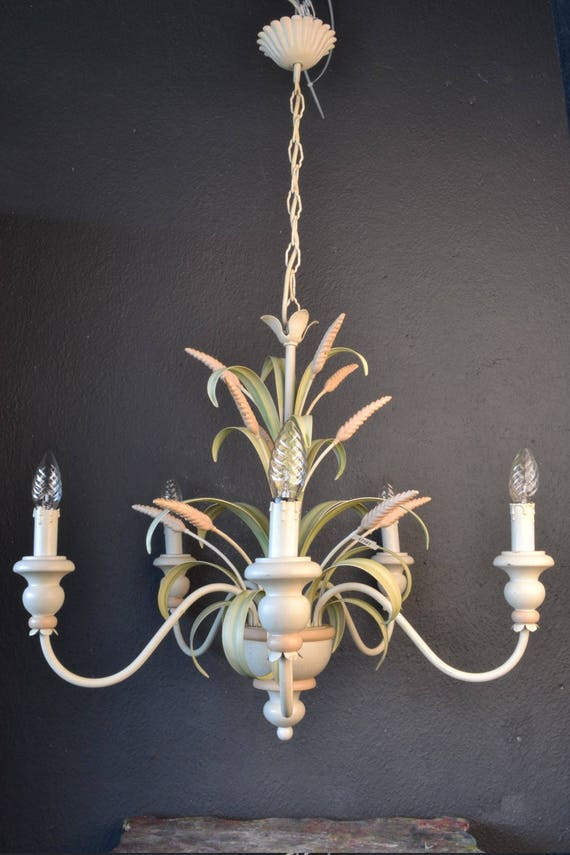 Large Italian Tole chandelier with sheaves of wheat.