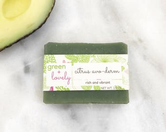 CITRUS AVO-DERM /// Rich and Vibrant. Made with real Avocado. Cold Process Soap. Saponified Oils of Coconut, Shea, Olive. Chemical Free.