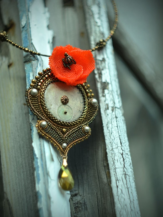 Bead embroidery steampunk necklace Beadwork art jewelry Seed beads embroidery pendant Vintage clock face neckpiece Bronze and red pendant by suzidesign steampunk buy now online