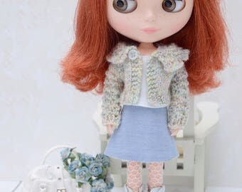 Pretty pastel lacy wool cardigan for Blythe