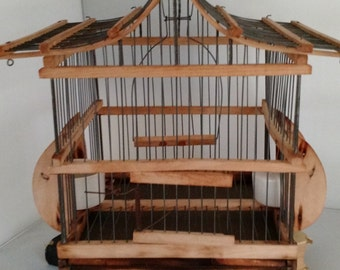 vintage bird cage wood and metal, French Country Cottage, shabby chic,cottage chic,mid century