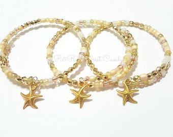 Starfish Bracelet,Beaded Coil Wrap Bracelet, Wire Bangle, Charm Bracelet, Beaded Jewelry, Womens Handmade Custom BeadedJewelry