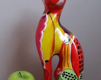 Ceramic Hand Painted Still Bank Cat. Piggy Bank Cat. Home Decor.