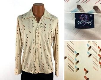 Vintage 70s Patterned Plumage Nylon Button-Down Pocket Shirt MEDIUM // 1970s // Disco Era // Long Pointy Collar // Mens // Throwback