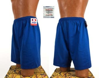 Vintage 80s - 90s Dodger Brand Athletic Shorts XL // NOS // NWT // Gym // Running // Workout // Basketball // Deadstock // Blue // 50-50