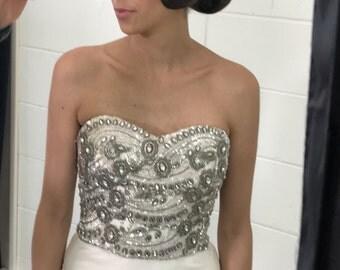 Strapless beaded wedding dress vintage style for unique weddings