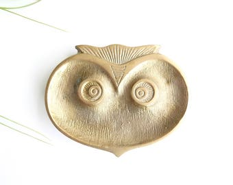 Stylized owl, brass dish, ashtray, paperweight, 1950s / ring dish