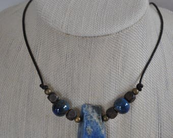 Blue Kyanite Men's Necklace, masculine necklace, ceramic beads, stone necklace