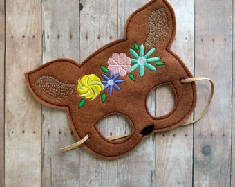 Fawn Deer Felt Mask in 2 Sizes, Elastic Back, Copper Acrylic Felt with Embroidered Flower Crown, Made in USA, Costume, Dress Up Easter Mask