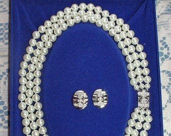 Jackie Kennedy Pearl Necklace  and Earring Set - Triple Strand, Pierced, Box and Certificate