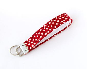 Red keychain, Polka dots key fob, Fabric key chain, White polka dots keychain, Wristlet strap keychain, Small gift