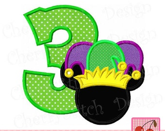 Mardi Gras Number 3 Mouse head  Machine Embroidery Applique Design -approximate 4x4 5x5 6x6""