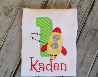 Boys Rocket Ship Birthday Shirt, Space Theme Party, Spaceship Birthday Shirt.  Personalized Birthday Shirt 1-9.