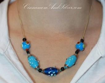 Funky Bumpy Turquoise Blue Lampwork Glass Beads Necklace, Blue Beaded Lampwork Statement Necklace