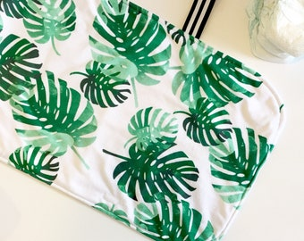 Portable changing pad - tropical palms - travel changing mat diaper protective waterproof - emerald green - gender neutral baby shower gift