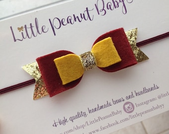 Harry Potter Inspired Bow - Gryffindor bow - harry potter headband - baby girl headband