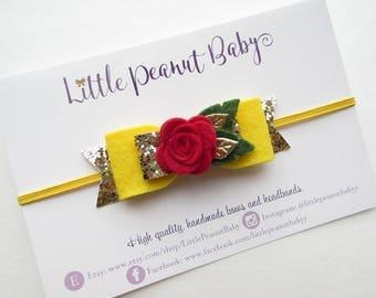 Disney Beauty and the Beast Princess Belle Inspired Bow - baby girl headband - disney inspired headband - beauty and the beast inspired bow