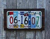 Upcycled License Plate 10th Wedding Anniversary Tin Aluminum Gift - Customizable