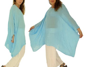 HH900TÜ ladies tunic poncho blouse linen layered look one size turquoise